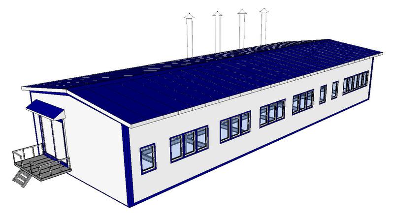 Полнокомплектное здание из легких металлоконструкций Котельная