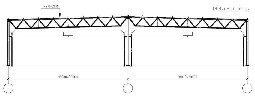 Двухпролетное здание шириной 36-60 метров с краном на подкрановой эстакаде
